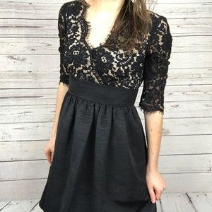 Eliza J Black Lace V-Neck Cocktail Dress -Y5